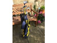 Junior left hand golf clubs and bag