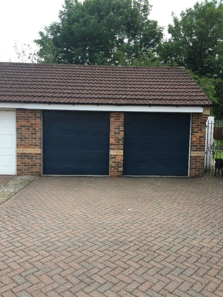 2 Blue Electric Garage Doors Excellent Condition In Darlington