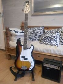 (now sold) -> Bass Guitar (full size) with practice amplifier