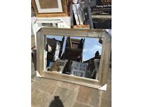 """large champagne silver framed wooden mirror 44""""x32"""""""