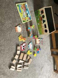 Wooden toys puzzle and building blocks EXCELLENT CONDITION