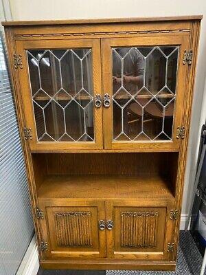 Old Charm Oak Glazed Leaded Cabinet