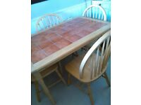 Kitchen table.tiled.+ 4 chairs.