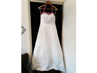 Satin Ivory & Ruby wedding dress. Size 14, comes with box and garment bag.