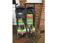 Cosatto Ditto Twin Buggy with lovely colorful footmuff for sale