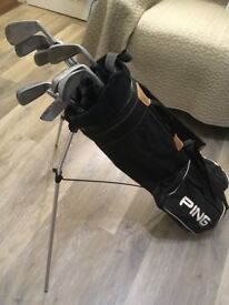 Ping Golf Bag, Left Handed Irons and miscellaneous golf items