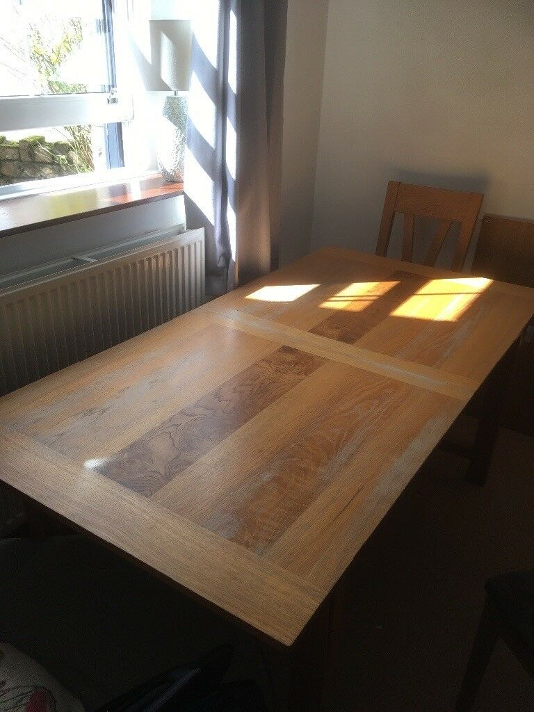 Solid Oak Extendable Dining Table And Six Chairs