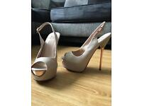 Kurt Geiger 6 inch Nude patent leather platform heels