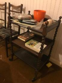 Antique spindle legged serving trolley