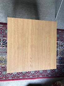 Oak effect square side table h42cm, l/w 45cm