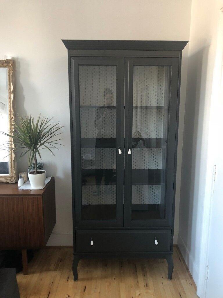 Good Quality Black Wood Glass Front Cabinet Bookshelf Cupboard