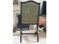 Fire Screen, Regency Period, C1825, Mahogany, Carved Frame, Silk Embroidered Screen, £65