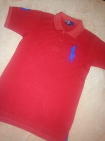 15 pound each, polo tshirts is sizes from XL to S in a variety of colours