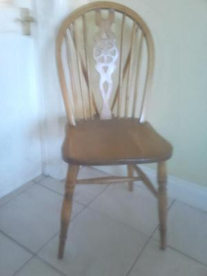 Vintage wood wooden bedroom / parlour /hall chair wheel back style seat
