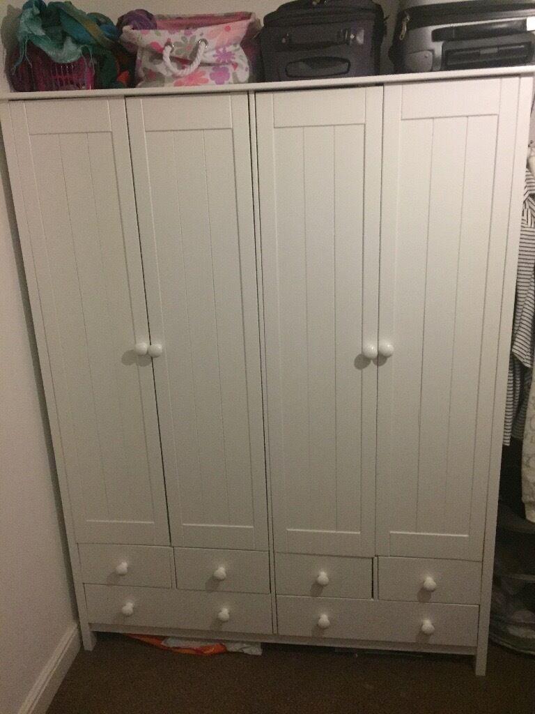 White 4 door wardrobe