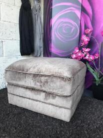 New Gleam Fabric Footstool In Taupe