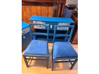Pair Teal Dining Chairs