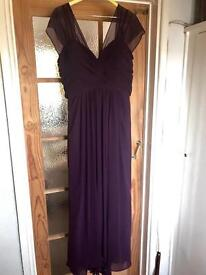 Beautifully handmade aubergine Formal Evening dress Size 20/22