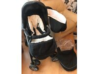 Dark Navy Silver Cross 2in 1 Pram with foot muff and rain cover
