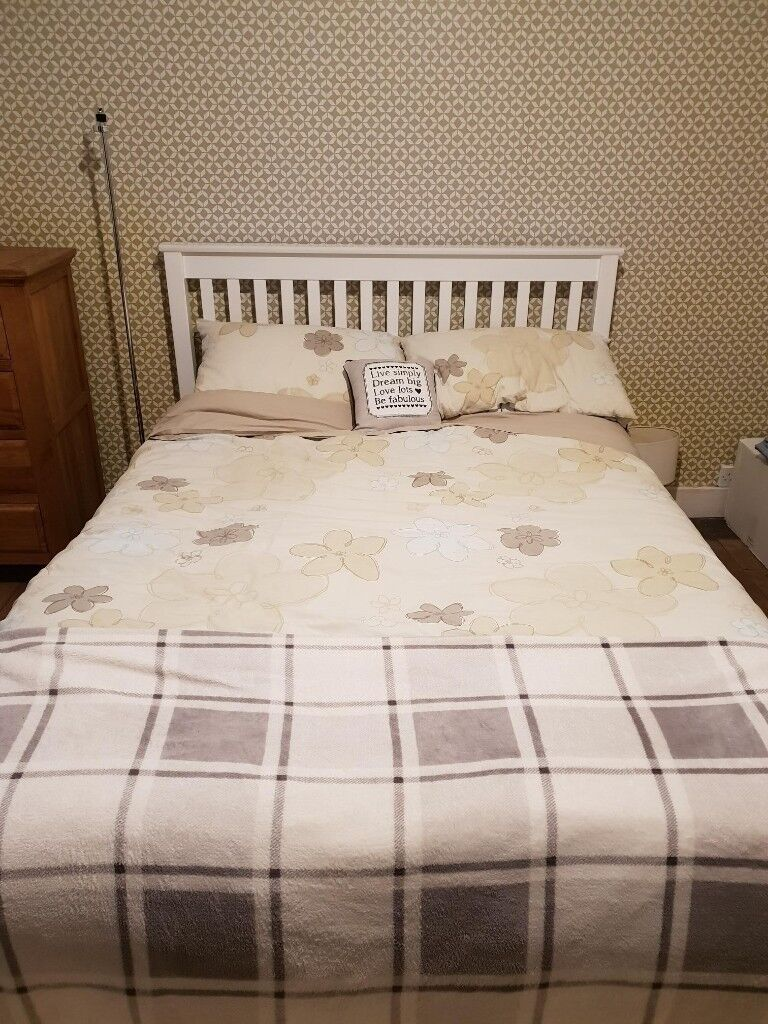 White Pine Double Bed Frame And Memory Foam Mattress In Woking