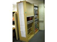 Wooden Tambour Cupboard with Adjustable Shelving and Pull Out Desk