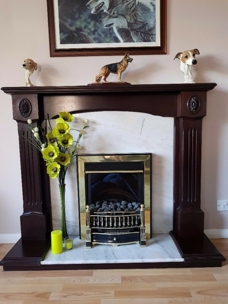 Complete dark Oak & Marble fire surround with electric fire