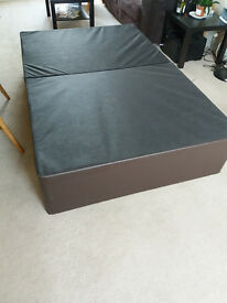 Small double divan mattress base, faux brown leather, lightweight & in 2 sections so easy transport.
