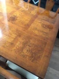 Square dining table with 4 Queen Anne chairs