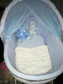 Blue & white wicker crib