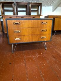 G plan chest of 3 drawers in Teak. Painted, Waxed on Bare Steel Hairpin Legs. Lovely piece of Retro