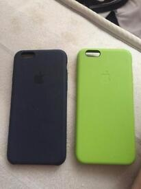 I phone 6 cases black and green black brand new apple silicone case green has dink in 5 pound each