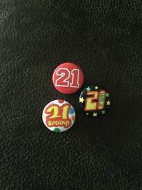 21st birthday badges