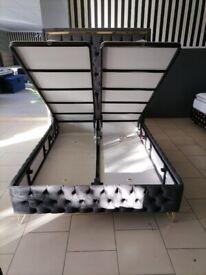 Enzo plush velvet bed frame--ottoman storage --high headboard