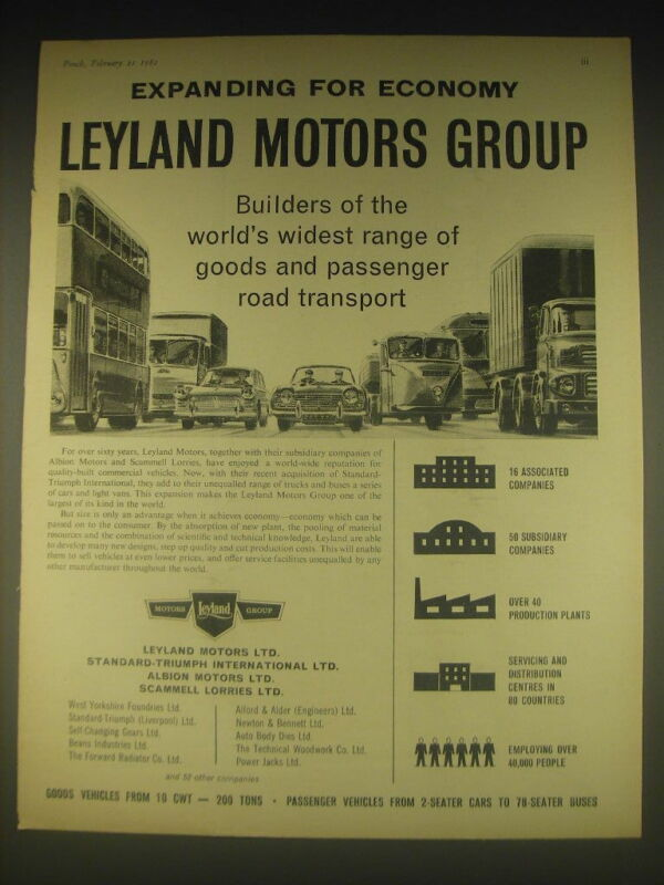 1962 Leyland Motors Group Ad - Expanding for economy