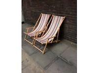 2 x beautiful stripy deckchairs