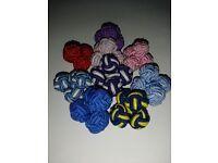 Set of 9 silk knot cufflinks