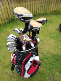 Full set of irons, a putter and cart