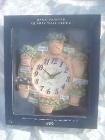 Clock with Herbs on Still in Box never used