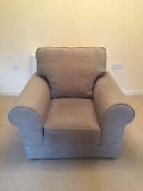 Marks & Spencer 3 piece suite. Grey/blue. Sofa & x2 arm chairs.