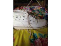 White kicker boots with diamontes