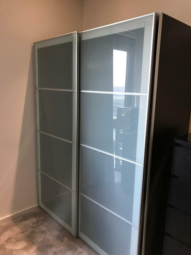 Ikea Pax Frosted Glass Sliding Wardrobe Black Brown Can