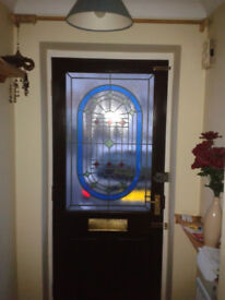 Front Door Half Glazed Coloured glass 6'6 x 2'9 Good Condition No Rot