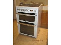 Hotpoint/HUE61PS 60cm Electric Ceramic Hob Double Oven cooker in White 2.25 years old, VG condition