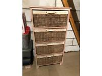 Chest of whicker drawers, about 350mm x 600mm x 1200mm high reduced from £35