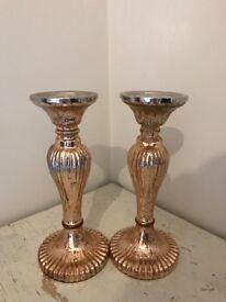 Shabby chic matching pillar candle holders