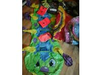 Large round pool, 2 small boats, big ring, armbands, large caterpillar inflatables £15.00