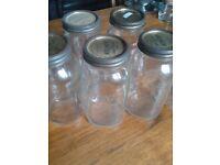 Glass Kilner preserving jars.