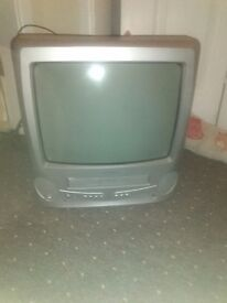 Bush silver tv and video player in one freeview box scart lead 14 inch