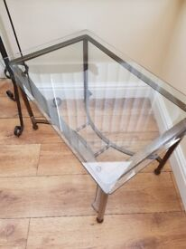 Long glass hall table with 2 side tables to match