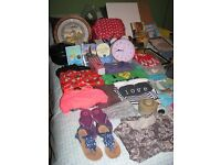 MIXED ITEMS - BIKE CARRIER, CLOTHES, BOOKS, POTTERY, BAGS & MORE